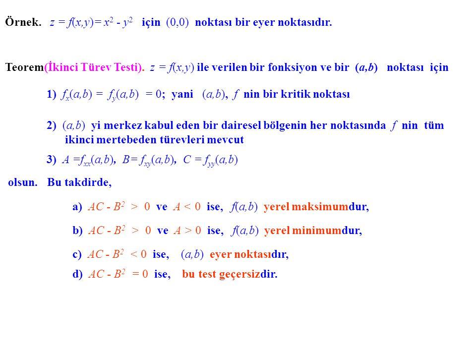 Örnek. z = f(x,y)= x 2 - y 2 için (0,0) noktası bir eyer noktasıdır. Teorem(İkinci Türev Testi). z = f(x,y) ile verilen bir fonksiyon ve bir (a,b) nok