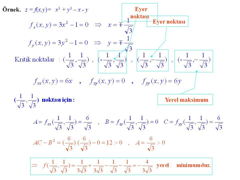 Örnek. z = f(x,y)= x 3 + y 3 – x - y Eyer noktası Yerel maksimum