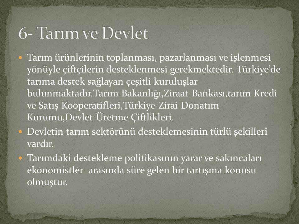 Tarım ürünlerinin toplanması, pazarlanması ve işlenmesi yönüyle çiftçilerin desteklenmesi gerekmektedir. Türkiye'de tarıma destek sağlayan çeşitli kur