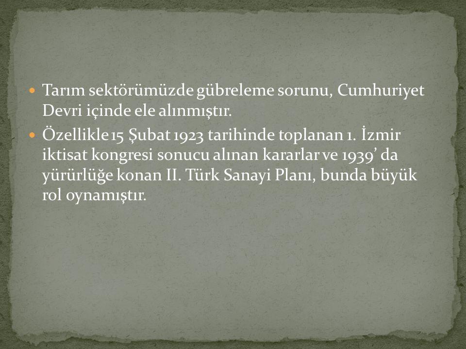 Tarım sektörümüzde gübreleme sorunu, Cumhuriyet Devri içinde ele alınmıştır. Özellikle 15 Şubat 1923 tarihinde toplanan 1. İzmir iktisat kongresi sonu