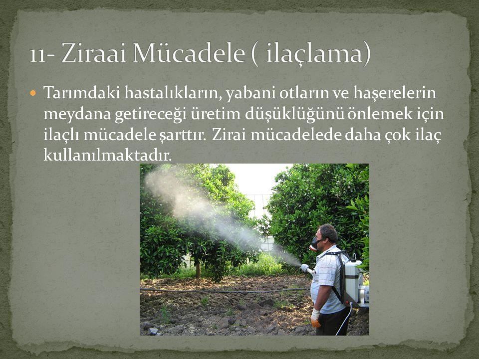 Tarımdaki hastalıkların, yabani otların ve haşerelerin meydana getireceği üretim düşüklüğünü önlemek için ilaçlı mücadele şarttır. Zirai mücadelede da