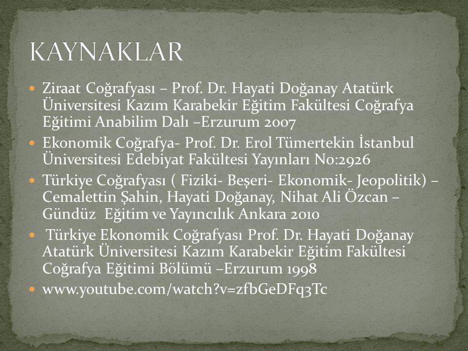 Ziraat Coğrafyası – Prof. Dr. Hayati Doğanay Atatürk Üniversitesi Kazım Karabekir Eğitim Fakültesi Coğrafya Eğitimi Anabilim Dalı –Erzurum 2007 Ekonom