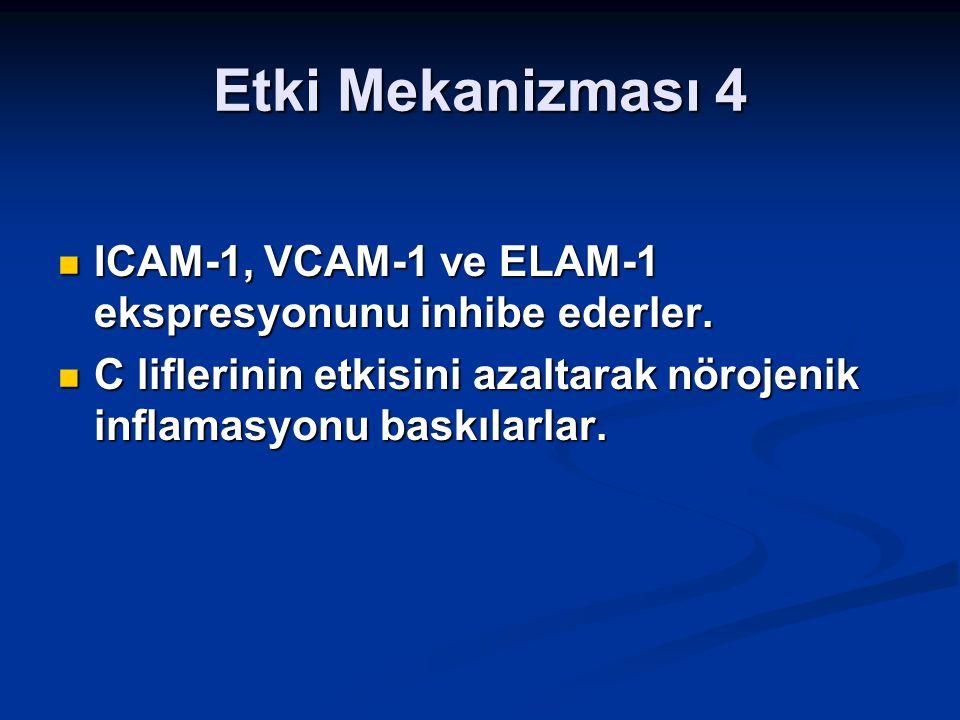 Etki Mekanizması 4 ICAM-1, VCAM-1 ve ELAM-1 ekspresyonunu inhibe ederler. ICAM-1, VCAM-1 ve ELAM-1 ekspresyonunu inhibe ederler. C liflerinin etkisini