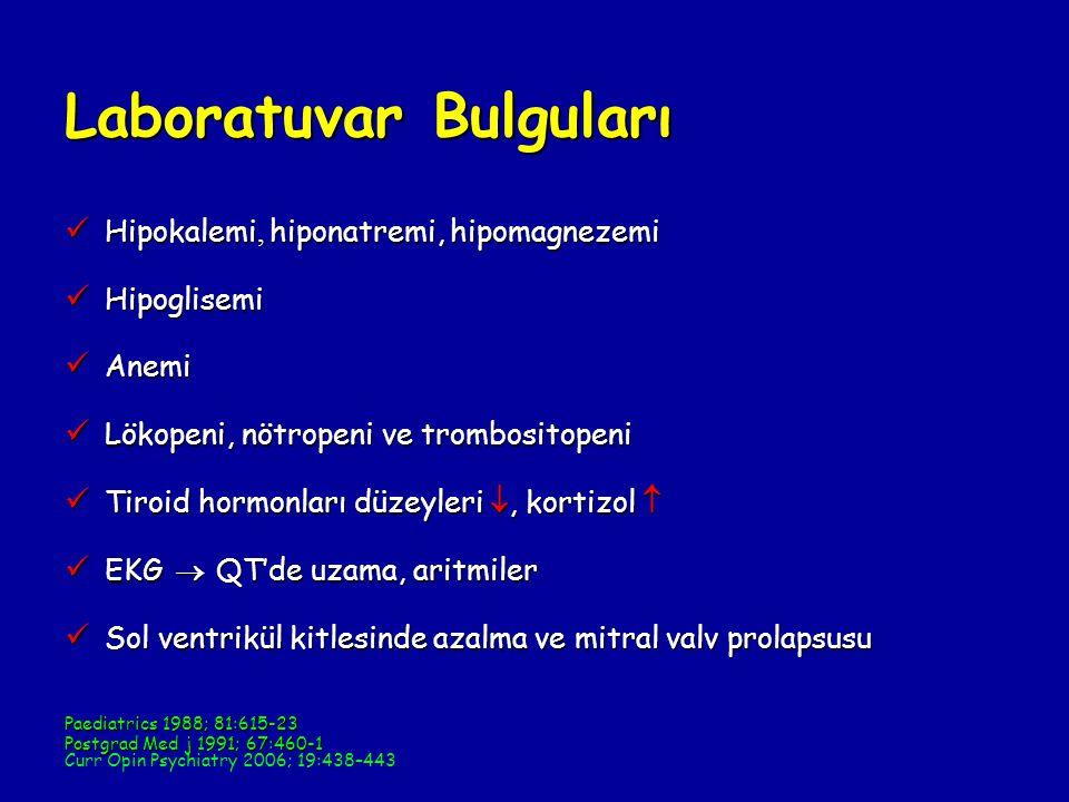 Laboratuvar Bulguları Hipokalemi, hiponatremi, hipomagnezemi Hipokalemi, hiponatremi, hipomagnezemi Hipoglisemi Hipoglisemi Anemi Anemi Lökopeni, nötropeni ve trombositopeni Lökopeni, nötropeni ve trombositopeni Tiroid hormonları düzeyleri , kortizol  Tiroid hormonları düzeyleri , kortizol  EKG  QT'de uzama, aritmiler EKG  QT'de uzama, aritmiler Sol ventrikül kitlesinde azalma ve mitral valv prolapsusu Sol ventrikül kitlesinde azalma ve mitral valv prolapsusu Paediatrics 1988; 81:615-23 Postgrad Med j 1991; 67:460-1 Curr Opin Psychiatry 2006; 19:438–443