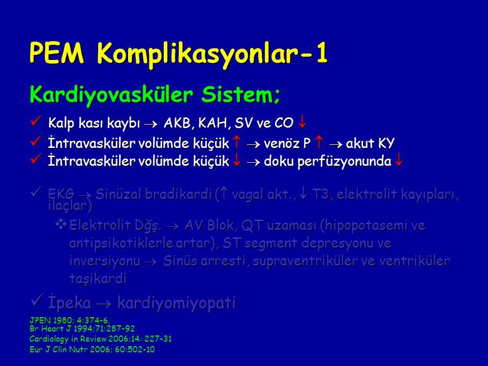 PEM Komplikasyonlar-1 Kardiyovasküler Sistem; Kalp kası kaybı  AKB, KAH, SV ve CO  Kalp kası kaybı  AKB, KAH, SV ve CO  İntravasküler volümde küçük   venöz P   akut KY İntravasküler volümde küçük   venöz P   akut KY İntravasküler volümde küçük   doku perfüzyonunda  İntravasküler volümde küçük   doku perfüzyonunda  EKG  Sinüzal bradikardi (  vagal akt.,  T3, elektrolit kayıpları, ilaçlar) EKG  Sinüzal bradikardi (  vagal akt.,  T3, elektrolit kayıpları, ilaçlar)  Elektrolit Dğş.