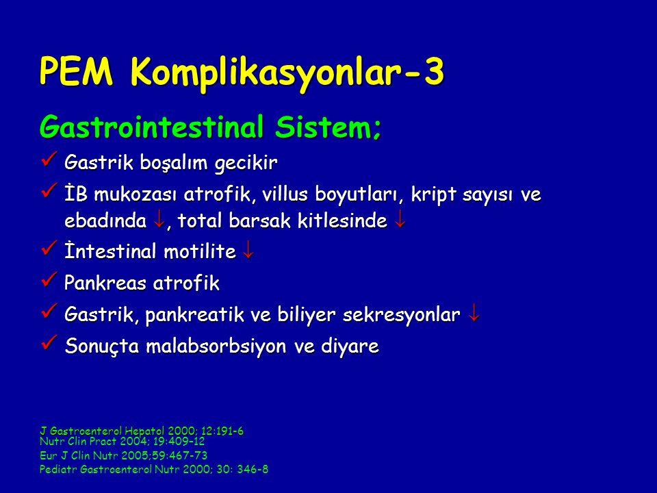 PEM Komplikasyonlar-3 Gastrointestinal Sistem; Gastrik boşalım gecikir Gastrik boşalım gecikir İB mukozası atrofik, villus boyutları, kript sayısı ve ebadında , total barsak kitlesinde  İB mukozası atrofik, villus boyutları, kript sayısı ve ebadında , total barsak kitlesinde  İntestinal motilite  İntestinal motilite  Pankreas atrofik Pankreas atrofik Gastrik, pankreatik ve biliyer sekresyonlar  Gastrik, pankreatik ve biliyer sekresyonlar  Sonuçta malabsorbsiyon ve diyare Sonuçta malabsorbsiyon ve diyare J Gastroenterol Hepatol 2000; 12:191-6 Nutr Clin Pract 2004; 19:409–12 Eur J Clin Nutr 2005;59:467-73 Pediatr Gastroenterol Nutr 2000; 30: 346-8