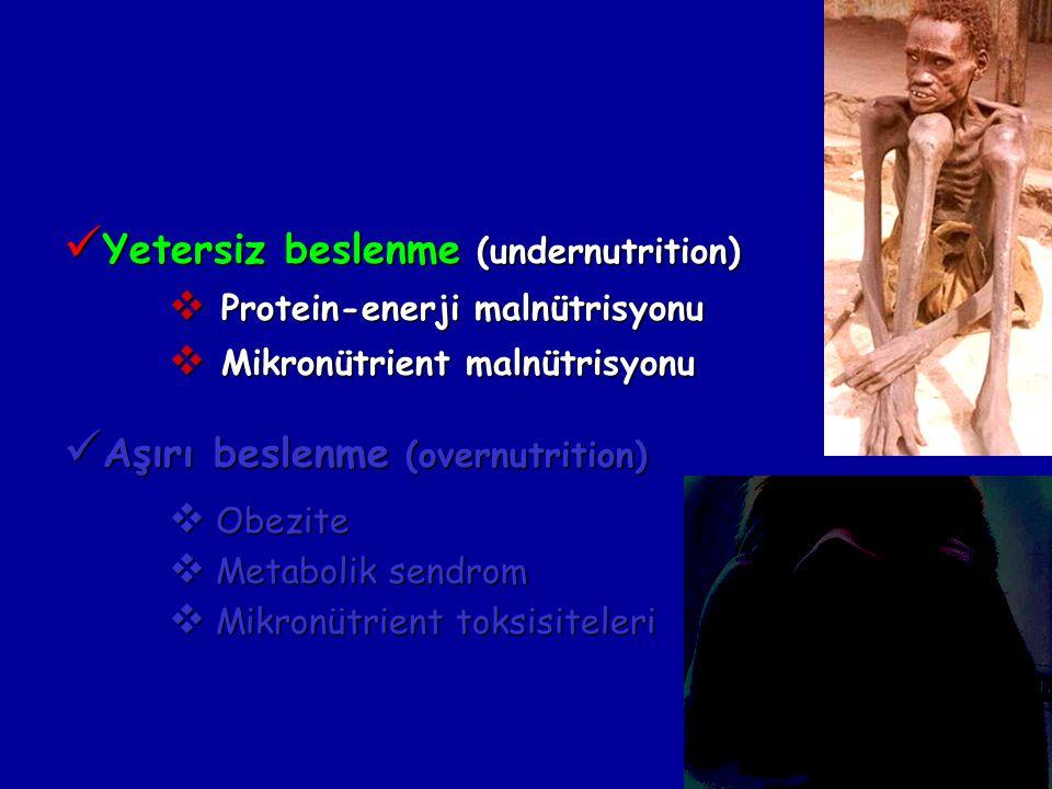 Yetersiz beslenme (undernutrition) Yetersiz beslenme (undernutrition)  Protein-enerji malnütrisyonu  Mikronütrient malnütrisyonu Aşırı beslenme (overnutrition) Aşırı beslenme (overnutrition)  Obezite  Metabolik sendrom  Mikronütrient toksisiteleri