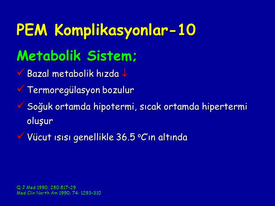 PEM Komplikasyonlar-10 Metabolik Sistem; Bazal metabolik hızda  Bazal metabolik hızda  Termoregülasyon bozulur Termoregülasyon bozulur Soğuk ortamda hipotermi, sıcak ortamda hipertermi oluşur Soğuk ortamda hipotermi, sıcak ortamda hipertermi oluşur Vücut ısısı genellikle 36.5 o C'ın altında Vücut ısısı genellikle 36.5 o C'ın altında Q J Med 1990; 280:817-29 Med Clin North Am Med Clin North Am 1990; 74: 1293–310