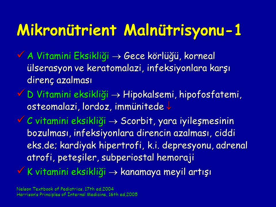 Mikronütrient Malnütrisyonu-1 A Vitamini Eksikliği  Gece körlüğü, korneal ülserasyon ve keratomalazi, infeksiyonlara karşı direnç azalması A Vitamini Eksikliği  Gece körlüğü, korneal ülserasyon ve keratomalazi, infeksiyonlara karşı direnç azalması D Vitamini eksikliği  Hipokalsemi, hipofosfatemi, osteomalazi, lordoz, immünitede  D Vitamini eksikliği  Hipokalsemi, hipofosfatemi, osteomalazi, lordoz, immünitede  C vitamini eksikliği  Scorbit, yara iyileşmesinin bozulması, infeksiyonlara direncin azalması, ciddi eks.de; kardiyak hipertrofi, k.i.
