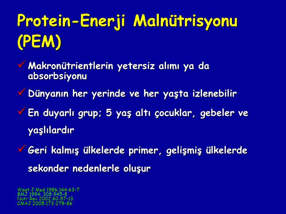 Protein-Enerji Malnütrisyonu (PEM) Makronütrientlerin yetersiz alımı ya da absorbsiyonu Makronütrientlerin yetersiz alımı ya da absorbsiyonu Dünyanın her yerinde ve her yaşta izlenebilir Dünyanın her yerinde ve her yaşta izlenebilir En duyarlı grup; 5 yaş altı çocuklar, gebeler ve yaşlılardır En duyarlı grup; 5 yaş altı çocuklar, gebeler ve yaşlılardır Geri kalmış ülkelerde primer, gelişmiş ülkelerde sekonder nedenlerle oluşur Geri kalmış ülkelerde primer, gelişmiş ülkelerde sekonder nedenlerle oluşur West J Med 1986;144:63-7 BMJ 1994; 308:945-8 Nutr Rev 2002;60:S7-13 CMAJ 2005;173:279-86