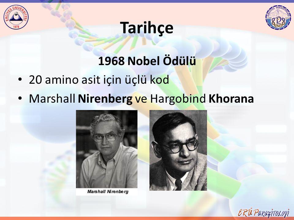 Tarihçe 1968 Nobel Ödülü 20 amino asit için üçlü kod Marshall Nirenberg ve Hargobind Khorana