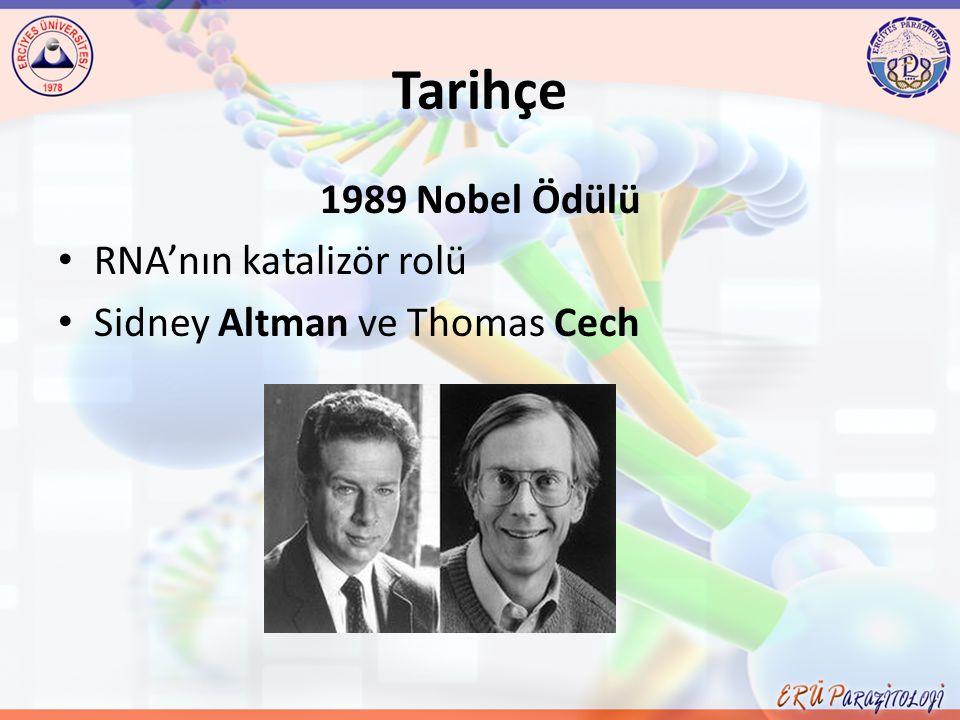 Tarihçe 1989 Nobel Ödülü RNA'nın katalizör rolü Sidney Altman ve Thomas Cech