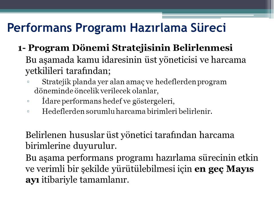 Performans Programı Hazırlama Süreci 1- Program Dönemi Stratejisinin Belirlenmesi Bu aşamada kamu idaresinin üst yöneticisi ve harcama yetkilileri tar