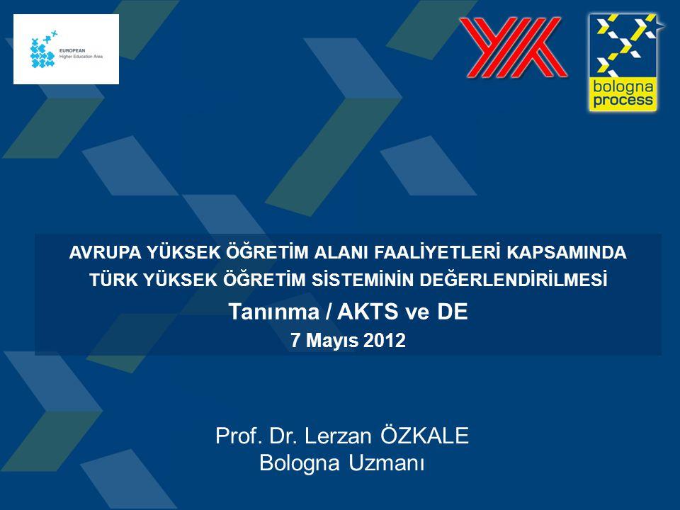 AVRUPA YÜKSEK ÖĞRETİM ALANI FAALİYETLERİ KAPSAMINDA TÜRK YÜKSEK ÖĞRETİM SİSTEMİNİN DEĞERLENDİRİLMESİ Tanınma / AKTS ve DE 7 Mayıs 2012 Prof.