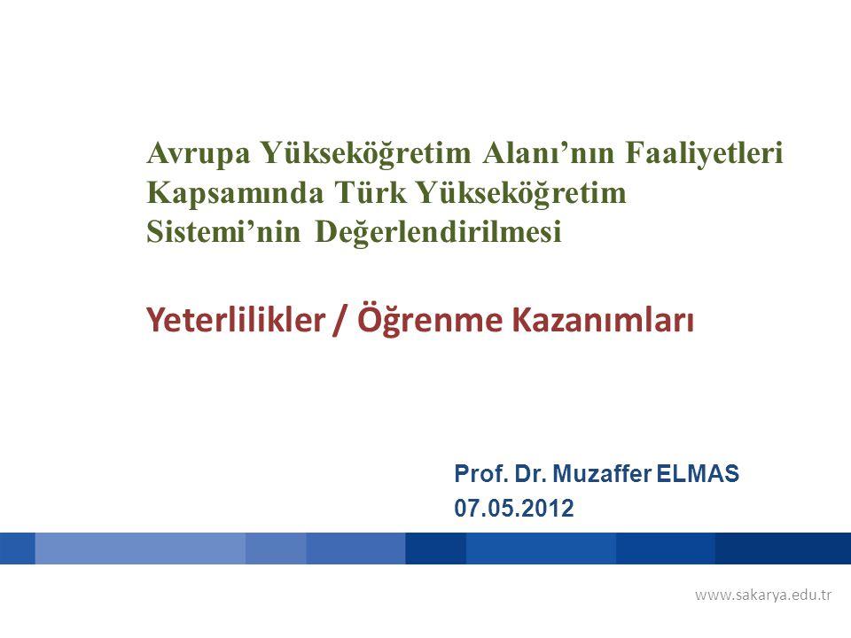 Avrupa Yükseköğretim Alanı'nın Faaliyetleri Kapsamında Türk Yükseköğretim Sistemi'nin Değerlendirilmesi Yeterlilikler / Öğrenme Kazanımları Prof.