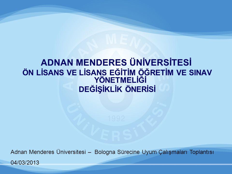 Adnan Menderes Üniversitesi – Bologna Sürecine Uyum Çalışmaları Toplantısı 04/03/2013 2.Birimlerin Eğitim-Öğretim ve Sınav Yönergelerinde, Yönetmelik değişikliğine paralel olarak; Tanımlar başlıklı 4.