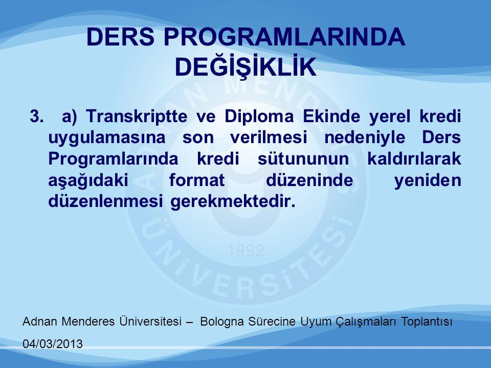 Adnan Menderes Üniversitesi – Bologna Sürecine Uyum Çalışmaları Toplantısı 04/03/2013 DERS PROGRAMLARINDA DEĞİŞİKLİK 3. a) Transkriptte ve Diploma Eki
