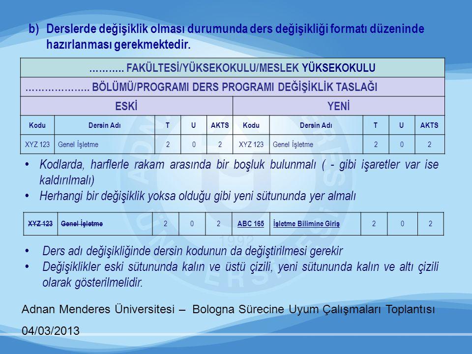 Adnan Menderes Üniversitesi – Bologna Sürecine Uyum Çalışmaları Toplantısı 04/03/2013 b)Derslerde değişiklik olması durumunda ders değişikliği formatı