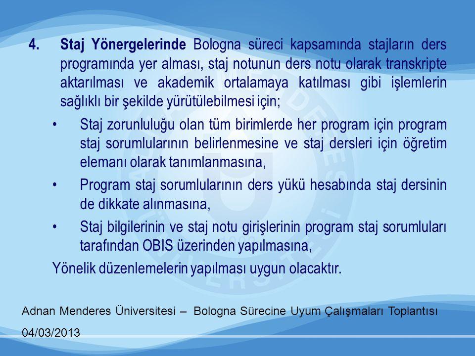 Adnan Menderes Üniversitesi – Bologna Sürecine Uyum Çalışmaları Toplantısı 04/03/2013 4.Staj Yönergelerinde Bologna süreci kapsamında stajların ders p