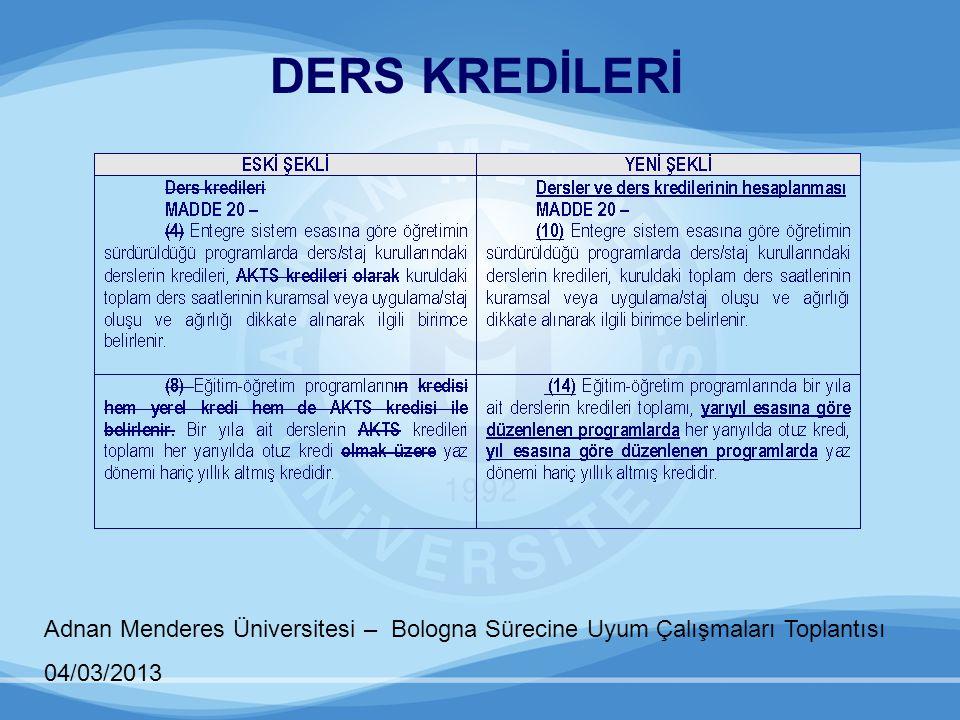 Adnan Menderes Üniversitesi – Bologna Sürecine Uyum Çalışmaları Toplantısı 04/03/2013 EŞDEĞERLİK VE KREDİ AKTARIMI