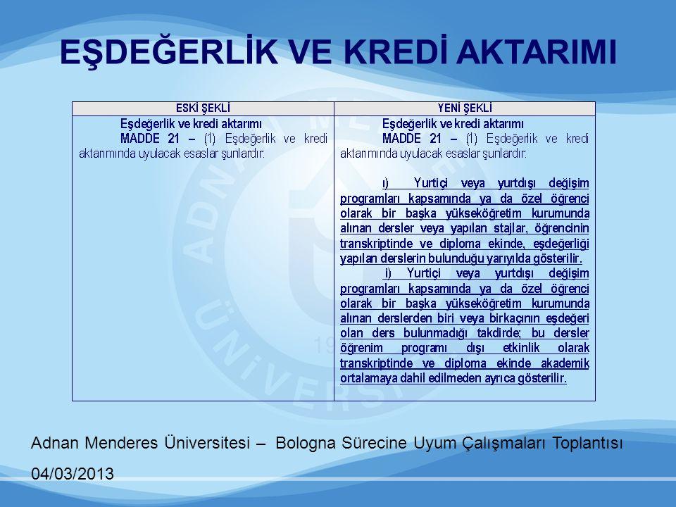 Adnan Menderes Üniversitesi – Bologna Sürecine Uyum Çalışmaları Toplantısı 04/03/2013 DERS PUANLARI VE AKADEMİK ORTALAMA
