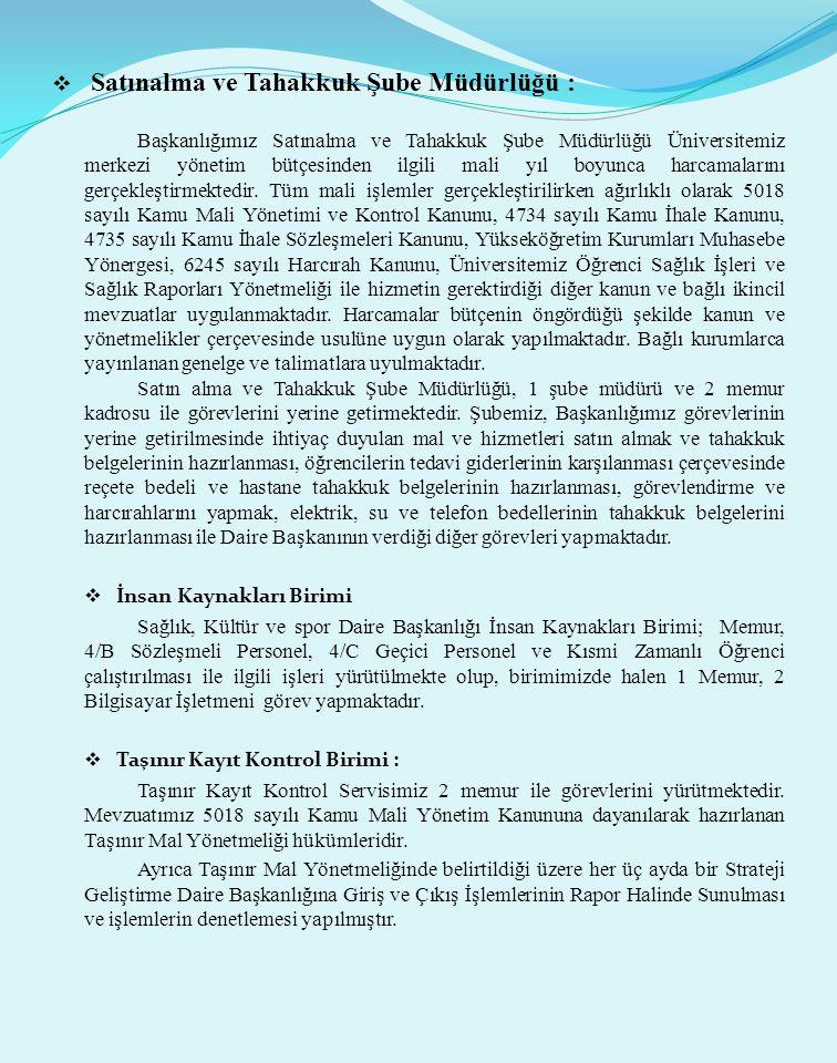  Satınalma ve Tahakkuk Şube Müdürlüğü : Başkanlığımız Satınalma ve Tahakkuk Şube Müdürlüğü Üniversitemiz merkezi yönetim bütçesinden ilgili mali yıl