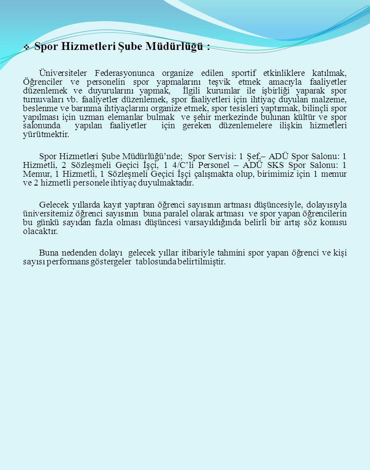  Spor Hizmetleri Şube Müdürlüğü : Üniversiteler Federasyonunca organize edilen sportif etkinliklere katılmak, Öğrenciler ve personelin spor yapmaları