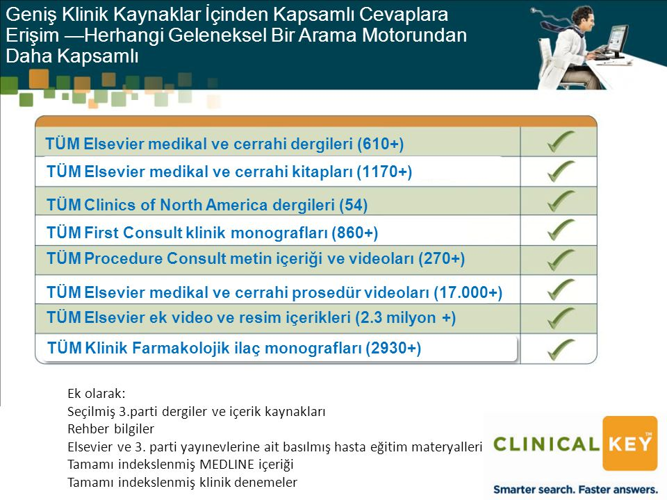 Ek olarak: Seçilmiş 3.parti dergiler ve içerik kaynakları Rehber bilgiler Elsevier ve 3.