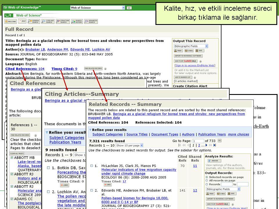 Solutions for Research and Publication Thomson Scientific Kalite, hız, ve etkili inceleme süreci birkaç tıklama ile sağlanır.