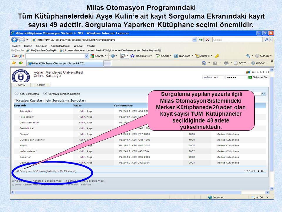 Milas Otomasyon Programındaki Tüm Kütüphanelerdeki Ayşe Kulin'e ait kayıt Sorgulama Ekranındaki kayıt sayısı 49 adettir. Sorgulama Yaparken Kütüphane