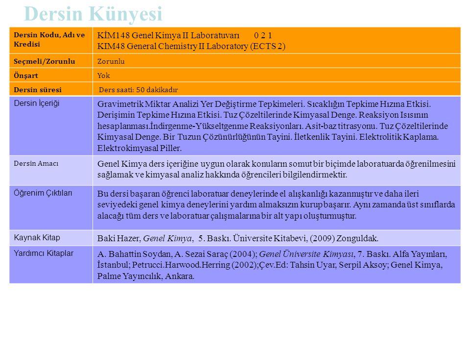 Dersin Künyesi Dersin Kodu, Adı ve Kredisi KİM148 Genel Kimya II Laboratuvarı 0 2 1 KIM48 General Chemistry II Laboratory (ECTS 2) Seçmeli/ZorunluZoru