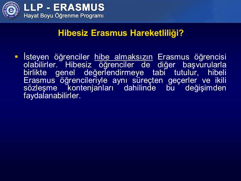 Hibesiz Erasmus Hareketliliği. İsteyen öğrenciler hibe almaksızın Erasmus öğrencisi olabilirler.