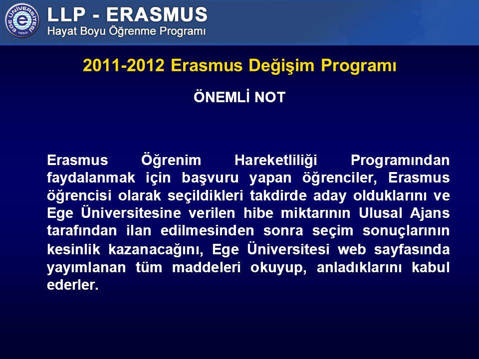 2011-2012 Erasmus Değişim Programı ÖNEMLİ NOT Erasmus Öğrenim Hareketliliği Programından faydalanmak için başvuru yapan öğrenciler, Erasmus öğrencisi olarak seçildikleri takdirde aday olduklarını ve Ege Üniversitesine verilen hibe miktarının Ulusal Ajans tarafından ilan edilmesinden sonra seçim sonuçlarının kesinlik kazanacağını, Ege Üniversitesi web sayfasında yayımlanan tüm maddeleri okuyup, anladıklarını kabul ederler.