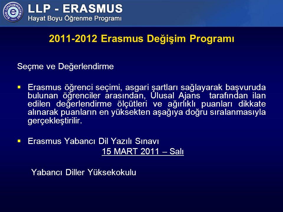2011-2012 Erasmus Değişim Programı Seçme ve Değerlendirme  Erasmus öğrenci seçimi, asgari şartları sağlayarak başvuruda bulunan öğrenciler arasından, Ulusal Ajans tarafından ilan edilen değerlendirme ölçütleri ve ağırlıklı puanları dikkate alınarak puanların en yüksekten aşağıya doğru sıralanmasıyla gerçekleştirilir.