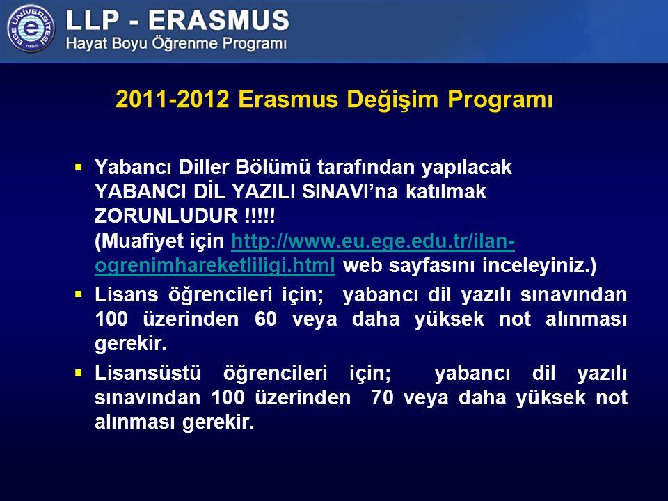 2011-2012 Erasmus Değişim Programı  Yabancı Diller Bölümü tarafından yapılacak YABANCI DİL YAZILI SINAVI'na katılmak ZORUNLUDUR !!!!.