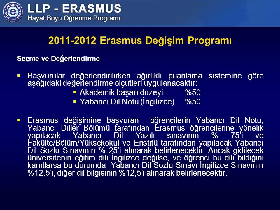 2011-2012 Erasmus Değişim Programı Seçme ve Değerlendirme  Başvurular değerlendirilirken ağırlıklı puanlama sistemine göre aşağıdaki değerlendirme ölçütleri uygulanacaktır:  Akademik başarı düzeyi%50  Yabancı Dil Notu (İngilizce)%50  Erasmus değişimine başvuran öğrencilerin Yabancı Dil Notu, Yabancı Diller Bölümü tarafından Erasmus öğrencilerine yönelik yapılacak Yabancı Dil Yazılı sınavının % 75'i ve Fakülte/Bölüm/Yüksekokul ve Enstitü tarafından yapılacak Yabancı Dil Sözlü Sınavının % 25'i alınarak belirlenecektir.