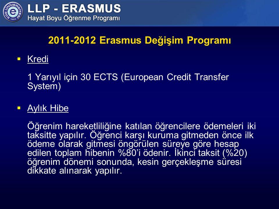2011-2012 Erasmus Değişim Programı  Kredi 1 Yarıyıl için 30 ECTS (European Credit Transfer System)  Aylık Hibe Öğrenim hareketliliğine katılan öğrencilere ödemeleri iki taksitte yapılır.