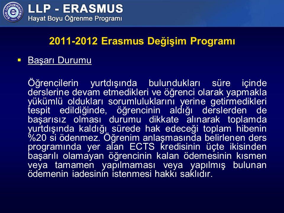 2011-2012 Erasmus Değişim Programı  Başarı Durumu Öğrencilerin yurtdışında bulundukları süre içinde derslerine devam etmedikleri ve öğrenci olarak yapmakla yükümlü oldukları sorumluluklarını yerine getirmedikleri tespit edildiğinde, öğrencinin aldığı derslerden de başarısız olması durumu dikkate alınarak toplamda yurtdışında kaldığı sürede hak edeceği toplam hibenin %20 si ödenmez.