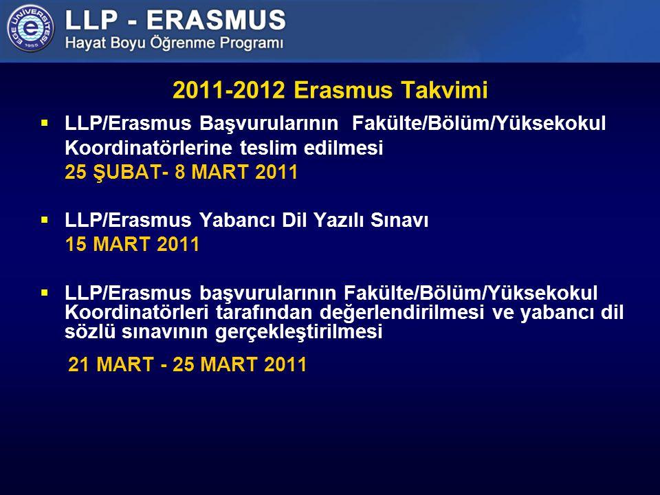 2011-2012 Erasmus Takvimi  LLP/Erasmus Başvurularının Fakülte/Bölüm/Yüksekokul Koordinatörlerine teslim edilmesi 25 ŞUBAT- 8 MART 2011  LLP/Erasmus Yabancı Dil Yazılı Sınavı 15 MART 2011  LLP/Erasmus başvurularının Fakülte/Bölüm/Yüksekokul Koordinatörleri tarafından değerlendirilmesi ve yabancı dil sözlü sınavının gerçekleştirilmesi 21 MART - 25 MART 2011
