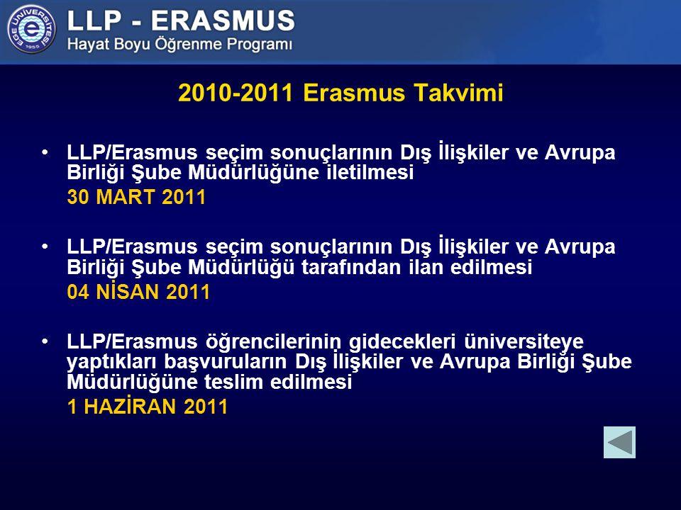 2010-2011 Erasmus Takvimi LLP/Erasmus seçim sonuçlarının Dış İlişkiler ve Avrupa Birliği Şube Müdürlüğüne iletilmesi 30 MART 2011 LLP/Erasmus seçim sonuçlarının Dış İlişkiler ve Avrupa Birliği Şube Müdürlüğü tarafından ilan edilmesi 04 NİSAN 2011 LLP/Erasmus öğrencilerinin gidecekleri üniversiteye yaptıkları başvuruların Dış İlişkiler ve Avrupa Birliği Şube Müdürlüğüne teslim edilmesi 1 HAZİRAN 2011