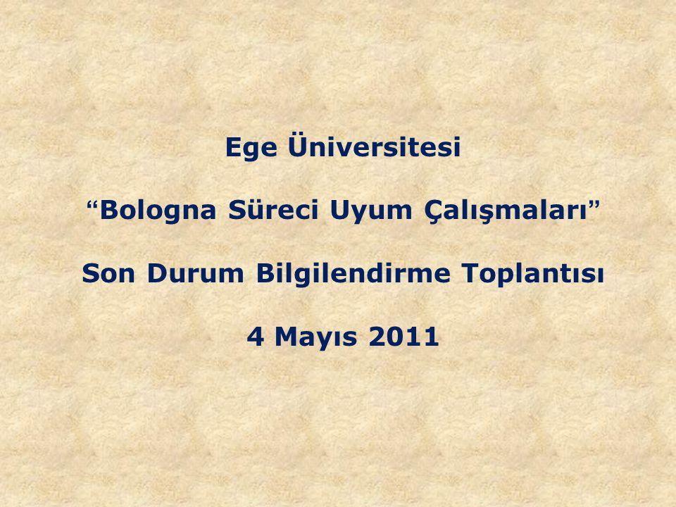 Ege Üniversitesi Bologna Süreci Uyum Çalışmaları Son Durum Bilgilendirme Toplantısı 4 Mayıs 2011