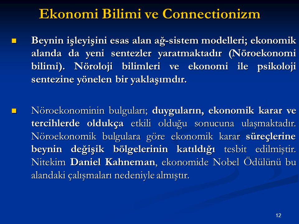 12 Ekonomi Bilimi ve Connectionizm Beynin işleyişini esas alan ağ-sistem modelleri; ekonomik alanda da yeni sentezler yaratmaktadır (Nöroekonomi bilimi).