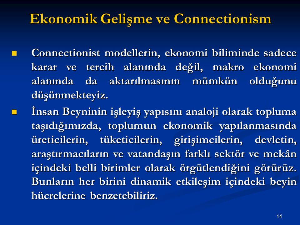 14 Ekonomik Gelişme ve Connectionism Connectionist modellerin, ekonomi biliminde sadece karar ve tercih alanında değil, makro ekonomi alanında da aktarılmasının mümkün olduğunu düşünmekteyiz.