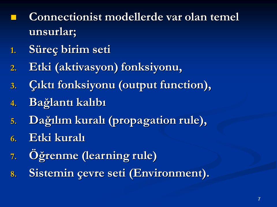 7 Connectionist modellerde var olan temel unsurlar; Connectionist modellerde var olan temel unsurlar; 1.
