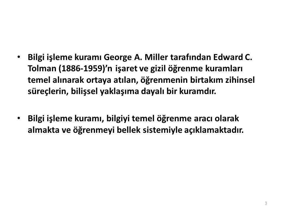 Bilgi işleme kuramı George A. Miller tarafından Edward C. Tolman (1886-1959)'n işaret ve gizil öğrenme kuramları temel alınarak ortaya atılan, öğrenme