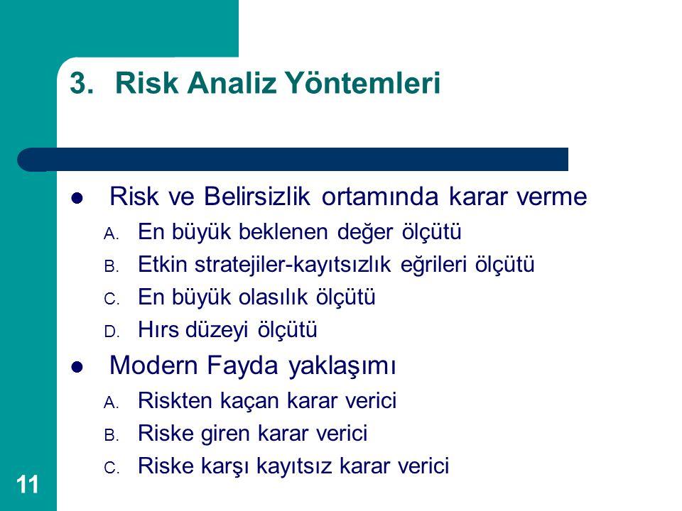 11 3.Risk Analiz Yöntemleri Risk ve Belirsizlik ortamında karar verme A. En büyük beklenen değer ölçütü B. Etkin stratejiler-kayıtsızlık eğrileri ölçü
