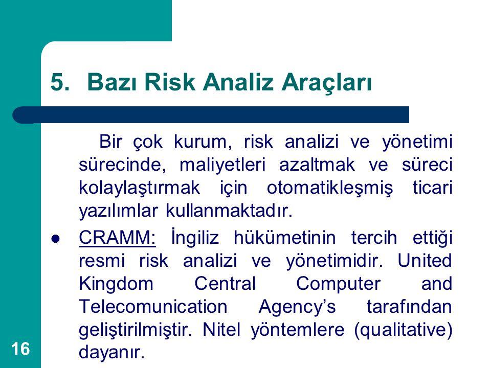 16 5.Bazı Risk Analiz Araçları Bir çok kurum, risk analizi ve yönetimi sürecinde, maliyetleri azaltmak ve süreci kolaylaştırmak için otomatikleşmiş ti