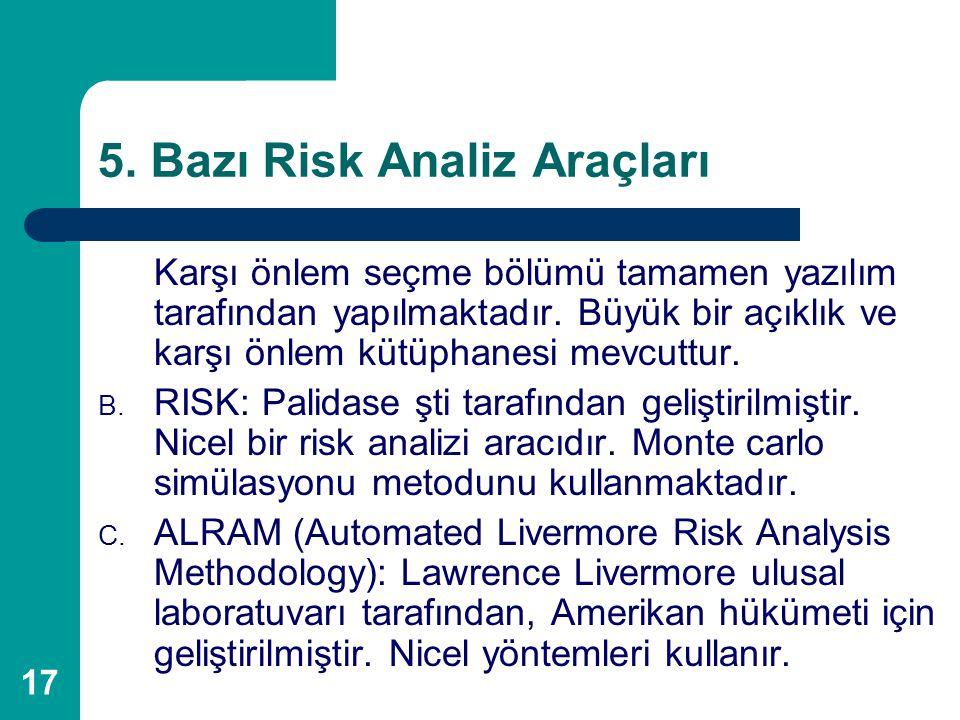 17 5. Bazı Risk Analiz Araçları Karşı önlem seçme bölümü tamamen yazılım tarafından yapılmaktadır. Büyük bir açıklık ve karşı önlem kütüphanesi mevcut