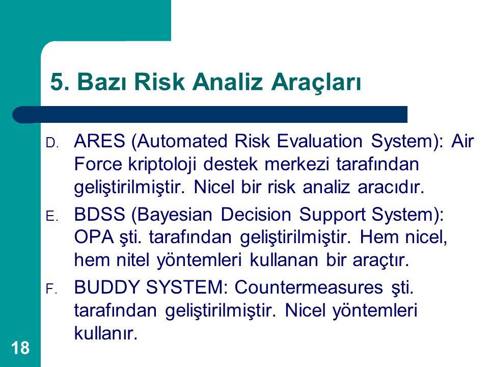 18 5. Bazı Risk Analiz Araçları D. ARES (Automated Risk Evaluation System): Air Force kriptoloji destek merkezi tarafından geliştirilmiştir. Nicel bir