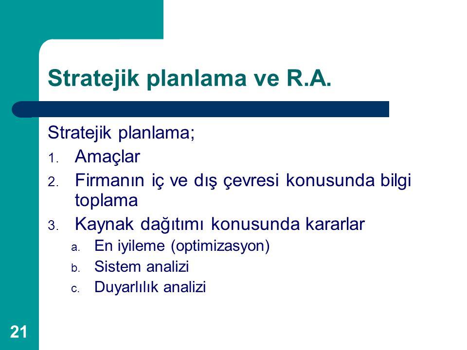 21 Stratejik planlama ve R.A. Stratejik planlama; 1. Amaçlar 2. Firmanın iç ve dış çevresi konusunda bilgi toplama 3. Kaynak dağıtımı konusunda kararl
